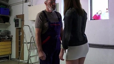 Old man fucks young girl his puny cock fucks her mouth and twat